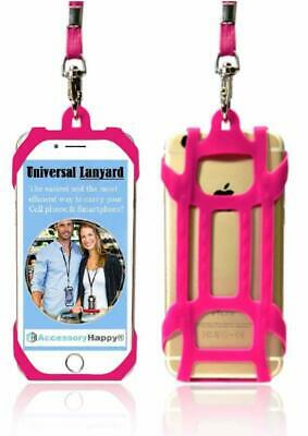 Pink Universal 2 in 1 Lanyard Card Holder Cell Phone Tether Silicone Neck Strap