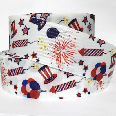 GROSGRAIN RIBBON 78 - 1-5 4TH OF JULY STARS JU8 Printed COMBINE SHIPPING