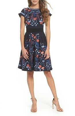 NEW FOXIEDOX Navy Blue Floral Embroidered SENNA Cut Out Fit - Flare Dress L 810