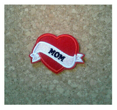 Mom - Heart - Mothers Day - Love - Embroidered Iron On Applique Patch - Crafts
