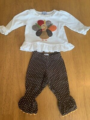 Mud Pie Thanksgiving Turkey Outfit Baby Girl Size 0 - 6 Months Boutique EUC
