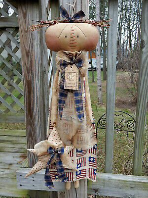 FoLk Art PrimiTive Americana CounTry Home Flag RAGGEDY ANN star DOLL DecoraTion