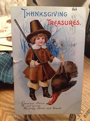 Vintage Thanksgiving Treasures Postcard Boy in Brown With Rifle Holding Turkey