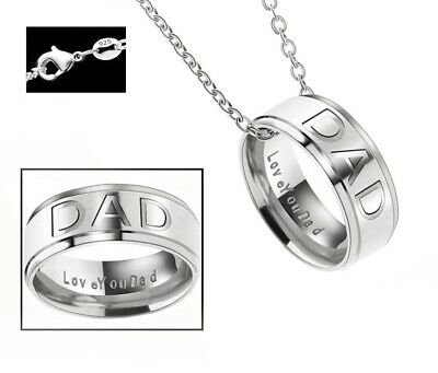 Fathers Day Gift 925 Sterling Silver Chain Link Necklace And Love You Dad Ring