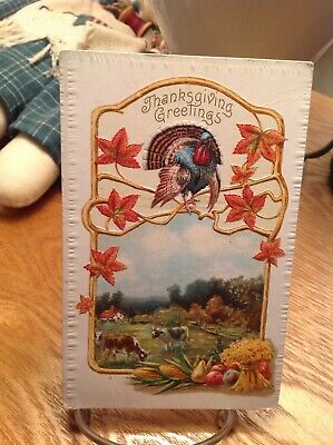 Vintage Thanksgiving Postcard Turkey Fall Leaves Cows Grazing in Pasture