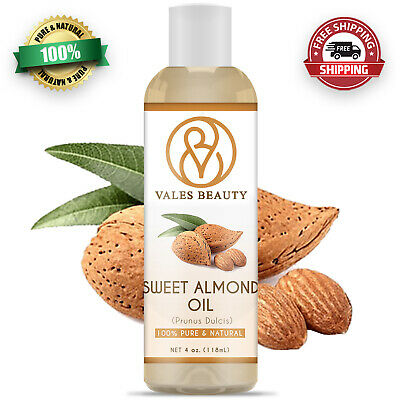 Sweet Almond Oil 4 oz - 100 Pure - Natural Carrier Cold Pressed For Skin - Hair