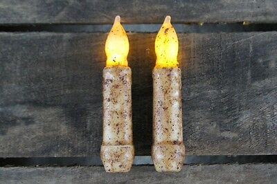 TWO Primitive Country Burnt Ivory 4-5 Battery Operated TIMER Taper Candles