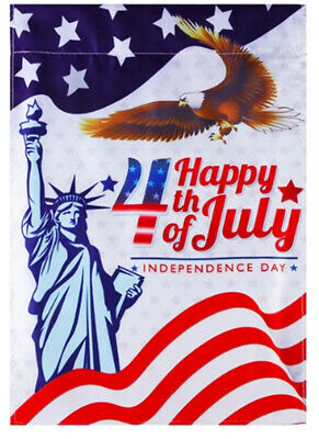 Happy 4th of July Independence Day Garden Banner Flag Double Sided 12x17 in