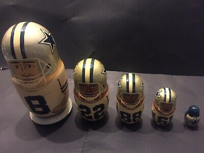 Russian Nesting Dolls NFL Dallas Cowboys -HOFERS AIKMAN-SMITH-IRVIN-NATE NEWTON