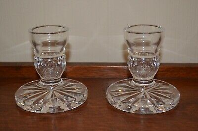 Pair of Waterford Crystal Short Candlestick Holders 3-12