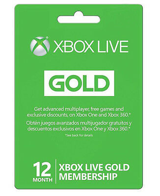 Microsoft Xbox LIVE 12 Month Gold Membership for Xbox 360  XBOX ONE - USA