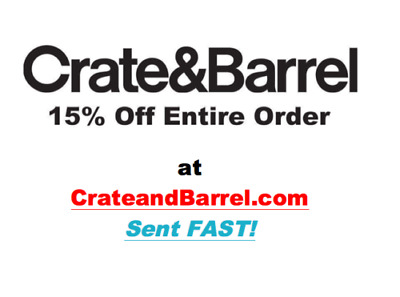 Crate and Barrel 15 off entire purchase 1coupon - sent fast - expires 12-31-20