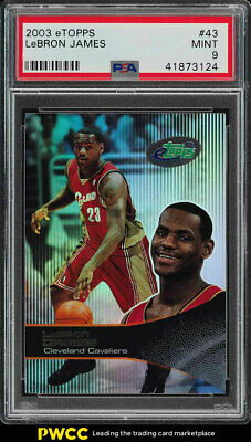 2003 eTopps Basketball LeBron James ROOKIE RC 43 PSA 9 MINT PWCC