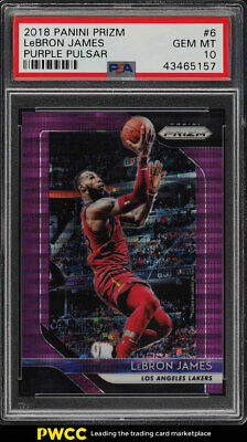 2018 Panini Prizm Purple Pulsar LeBron James 35 6 PSA 10 GEM MINT PWCC
