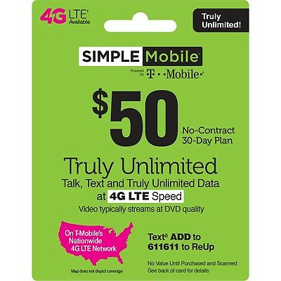 3 MONTH SIMPLE MOBILE 50 PLAN - 90 Days Preloaded with 50 Plan 150 Value