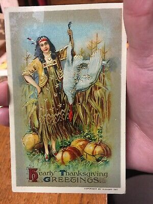 Knoph 1911 Indian Maiden wholding Turkey Thanksgiving Emb Holiday Postcard