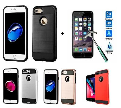 For iPhone 7 8 Plus Rugged Shockproof Hybrid Slim Case Cover - Screen Protector