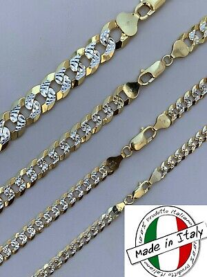 Cuban Link Chain 14k Gold - Solid 925 Silver Two Tone Diamond Cut ITALY 5-11mm