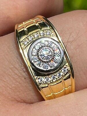 Mens 14k Gold - Real Solid 925 Silver Diamond RING Size 7 8 9 10 11 12 13 ICY