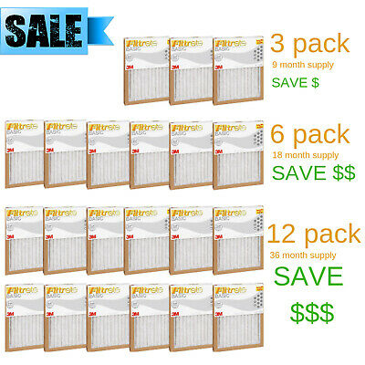 FILTRETE- AIR-FILTER PLEATED FURNACE REPLACEMENT PAD DUST PACK 3 6 12 NEW