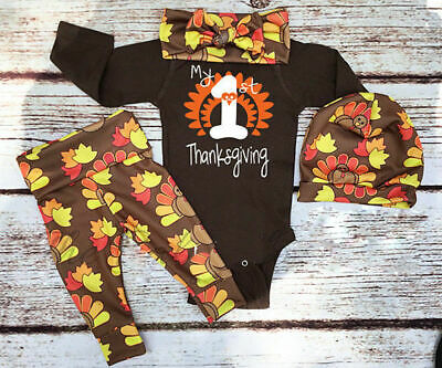 US Stock Infant Baby Boy Girl Thanksgiving Cotton Romper Tops Pants Hat Outfits