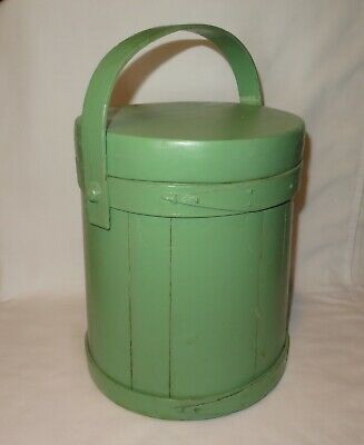 12-14 Antique Firkin Sugar Bucket Country Primitive Painted Wood Pantry Box