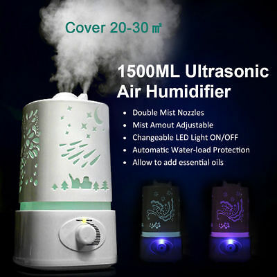 1500ML Aroma Air Humidifier LED Air Diffuser Air Purifier Atomizer Mothers Day
