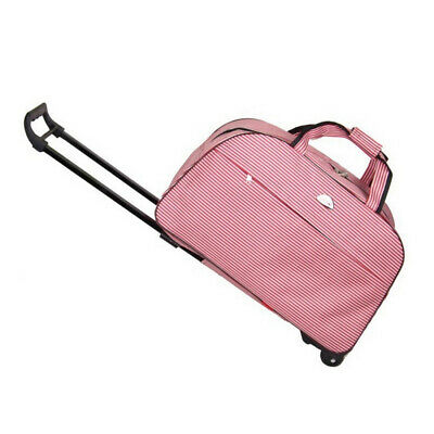 Women Rolling Wheeled Duffle Trolley Bag Tote Carry On Travel Suitcase Luggage
