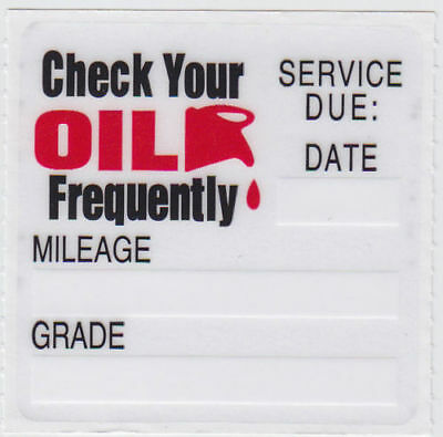 100 STATIC CLING OIL CHANGE REMINDER STICKERS DECALS  FREE FAST SHIPPING OCS-100