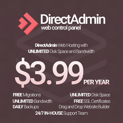 1 Year Unlimited SSD Website Web Hosting DirectAdmin based with free SSLs