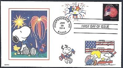 SNOOPY   FOURTH OF JULY   FIREWORKS  WOODSTOCK   BEETHOVEN      FDC- DWc CACHET