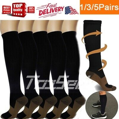 Copper Fit 5 Pairs Compression Socks Running Medical 20-30 mmHG Foot Pain Relief