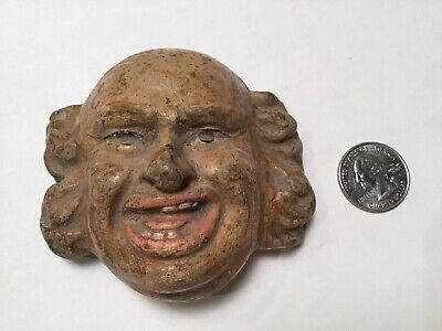 Antique Vintage Hand Made Clay Winking Man Face Bank