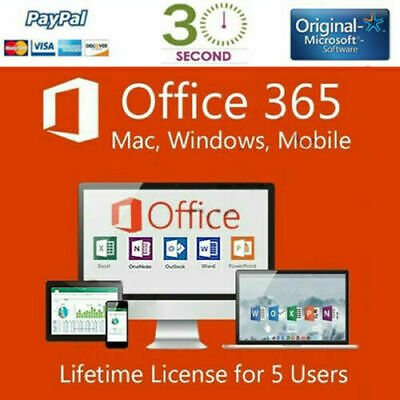 MICROSOFT OFFICE 365 - 2016 PRO PLUS with a Lifetime License  for 5 devices