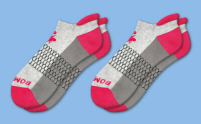 2-Pack Grey Hot Pink Red Bombas Mens Ankle Socks Size Medium