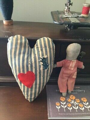 EARLY PRIMITIVE HANDMADE BLUE TICKING HEART PILLOW - CLOTH DOLL
