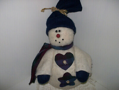 Primitive Country Folk Art Grungy Fleece Flannel Snowman Decor Doorstop 12