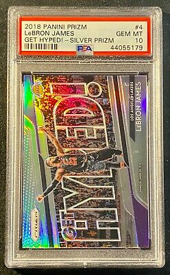 2018 PANINI PRIZM 4 LEBRON JAMES GET HYPED SILVER PRIZM GEM MINT PSA 10