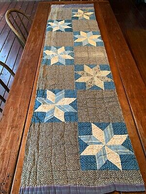 Early Lg Quilt Piece Blue Calico Old Primitive Textiles Table Mat Bed Crafts