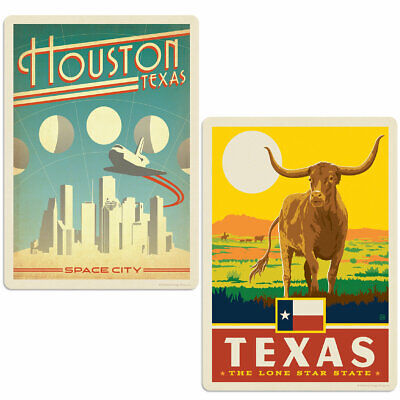 Houston Texas Space City Sticker Set of 2 Vintage-Style Travel Decals