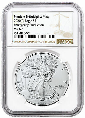 2020 P 1oz Silver American Eagle Struck at Philadelphia 1 Coin NGC MS69