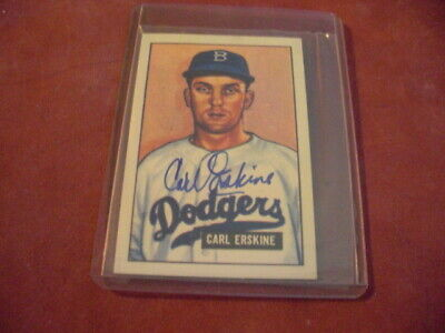 CARL ERSKINE 1951 Bowman Reprint Autographed Signed GLOSSY Card Brooklyn Dodgers