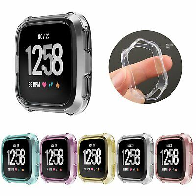 For Fitbit Versa Lite Silicone TPU Shell Case Screen Protector Frame Cover