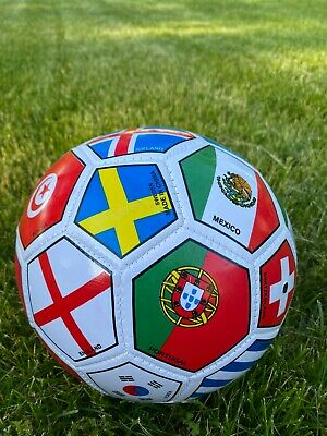 SOCCER BALL FIFA WORLD CUP FULL SIZE FLAGS OFFICIAL SIZE 5 SHIPPED FROM USA NEW