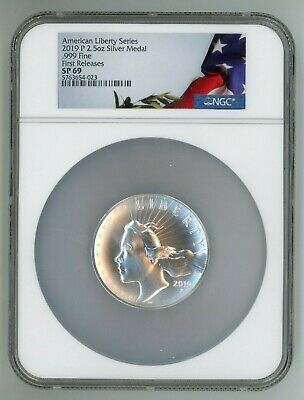 2019 P AMERICAN LIBERTY SILVER MEDAL 2-5 OZ -999 NGC SP69 FIRST RELEASES 54-023