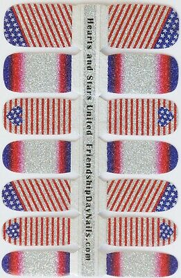 Red White Blue Nail polish American Flag strips 14 pc Glitter 4th of July