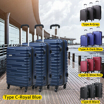 3 Piece Luggage Set Carry On Trolley Suitcase Cover Travel Spinner Wheels ABS-PC