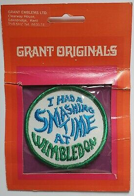 Vintage Wimbledon A Smashing Time Round 2 34 Sew On Tennis Patch New Old Stock