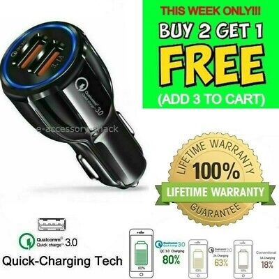 2 Port USB Fast Car Charger 3-0 Dual USB For Samsung iPhone Android Cell Phone