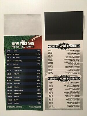 2020 NFL NEW ENGLAND PATRIOTS MAGNET SCHEDULE + ALL SUNDAY & MONDAY NIGHT GAMES